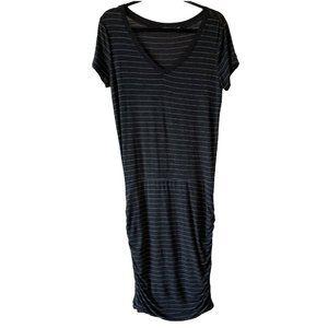Prana Foundation Dress Short Sleeve Ruched Midi L